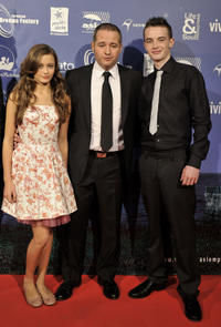 Ella Purnel, director Gustavo Ron and Alex Etel at the premiere of