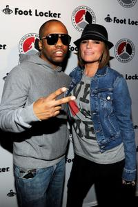 Consequence and Angie Martinez at the 2010 Jordan Brand classic celebrity bowling event.