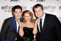 Mathew Horne, Kylie Minogue and James Corden at the Brit Awards 2009.