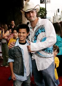Taylor Lautner and writer-director Robert Rodriguez at the premiere of
