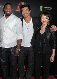 Michael Jai White, Ian Anthony Dale and Maurissa Tancharoen at the unleashing of