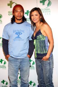 Jason Scott Lee and Kelly Hu at the Global Green USA's Annual Oscar party.