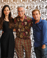 Martina Garcia, producer Luis Minarro and Eduard Fernandez at the press conference of