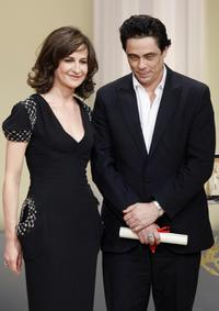 Valerie Lemercier and Benicio Del Toro at the Closing Ceremony during the 61st Cannes International Film Festival.