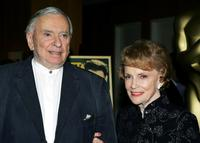 Gore Vidal and Joan Leslie at the Academy of Motion Picture Arts and Sciences Centennial tribute to Oscar-winning actress Greta Garbo.