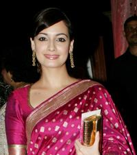 Diya Mirza at the wedding reception of Rashi Agarwal and Hemant Bhanadari in Mumbai.