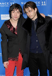 Ezra Miller and Sam Levinson at the premiere of
