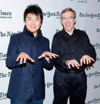 Lang Lang and author James Barron at the photocall of 10th Annual New York Times Arts & Leisure Weekend.