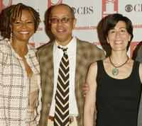Tonya Pickins, George C. Wolfe and Jeanine Tesori at the 2004 Tony Awards Nominees Press Reception.