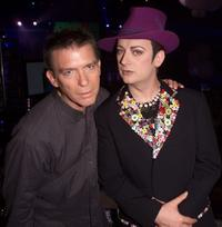 Kurt Loder and Boy George at the MTV 20th Anniversary party.