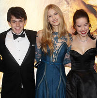 Skandar Keynes, Laura Brent and Georgie Henley at the world premiere of