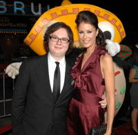 Clark Duke and Amanda Crew at the L.A. premiere of