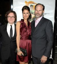 Clark Duke, Amanda Crew and Producer Bob Levy at the premiere of