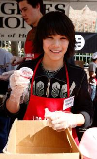 Boo Boo Stewart at the Los Angeles Mission's Easter meal for the homeless.