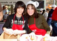 Boo Boo Stewart and Kate Linder at the Los Angeles Mission's Easter meal for the homeless.