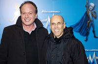 Tom McGrath and producer and DreamWorks's CEO Jeffrey Katzenberg at the Paris premiere of