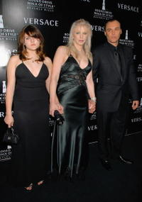 Frances Bean Cobain, Courtney Love and David LaChapelle at the Rodeo Drive Walk of Style Awards.