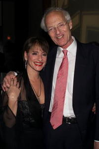 Patti LuPone and play write Michael Frayn at the opening night party of
