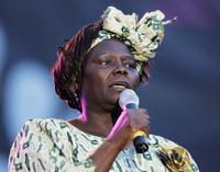 Wangari Maathai at the Live 8 Edinburgh concert.