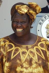 Wangari Maathai at the meeting with Kenyan President Mwai Kibaki in Nairobi.