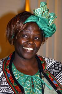 Wangari Maathai at the Nobel institute in Oslo.