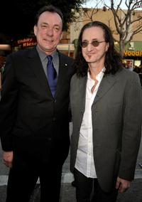 Neil Peart and Geddy Lee at the premiere of