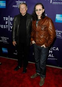 Alex Lifeson and Geddy Lee at the premiere of