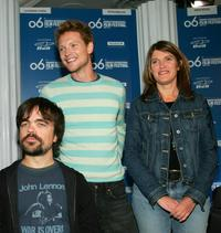 Peter Dinklage, Simon Woods and Leslie Caveny at the press conference of