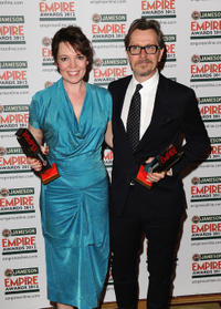 Olivia Colman and Gary Oldman at the 2012 Jameson Empire Awards in London.