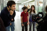Director Thor Freudenthal, Jake T. Austin and Emma Roberts on the set of