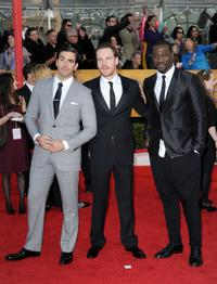 Eli Roth, Michael Fassbender and Jacky Ido at the 16th Annual Screen Actors Guild Awards.