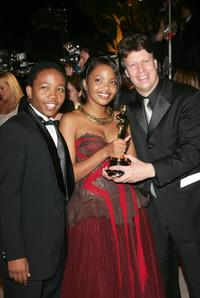Presley Chweneyagae, Terry Pheto and Gavin Hood at the Vanity Fair Oscar Party.