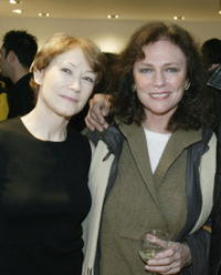 Ann Magnuson and Jacqueline Bisset at the opening of photographer, Patrick McMullan's gallery of New York night life.