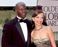 Djimon Hounsou and Victoria Mahoney at the 55th Annual Golden Globe Awards.