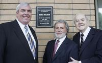 John E. Potter, Sid Ganis and Karl Malden at the dedication of Barrington Station Post Office.