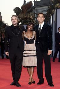 Director Alfonso Cuaron, Claire-Hope Ashitey and Clive Owen at the premiere of