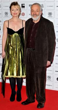 Lesley Manville and director Mike Leigh at the Moet British Independent Film Awards.