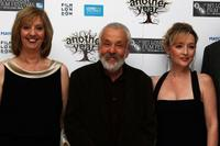 Ruth Sheen, director Mike Leigh and Lesley Manville at the premiere of