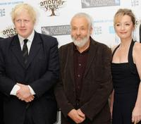 Mayor of London Boris Johnson, director Mike Leigh and Lesley Manville at the premiere of