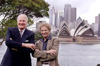 Dr Peter Hollingworth and Marcel Marceau at the Admiralty House in Sydney.