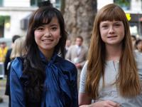 Katie Leung and Bonnie Wright at the British premiere of