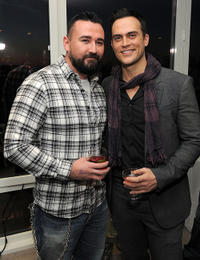 President of Kiehl's Chris Salgardo and Cheyenne Jackson at the 2011 amfAR New York Inspiration Gala Kick-Off party in New York.