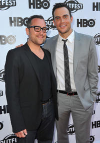 Writer/producer Paul Marcarelli and Cheyenne Jackson at the premiere of
