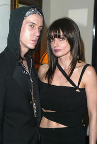 Designer Jeremy Scott and Lisa Marie at the HBO's Pre Golden Globes private reception in California.