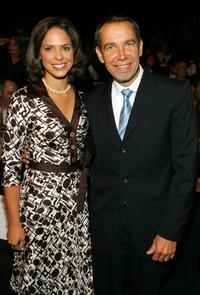 Soledad O'Brien and Jeff Koons at the Carmen Marc Valvo Spring 2007 fashion show during the Olympus Fashion Week.