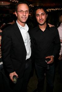 Adam Moss and Maulik Pancholy at the New York Magazine Oscar Viewing Party.