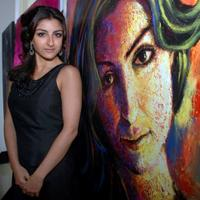 Soha Ali Khan at the unveiling of artwork by Saillesh Acharekar showcasing the cast of