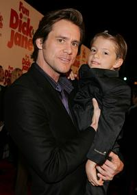 Jim Carrey and Aaron Michael Drozin at the Los Angeles premiere of