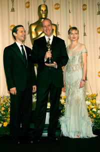 Tobey Maguire, Michael Arndt and Kirsten Dunst at the 79th Annual Academy Awards.