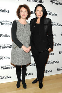 New York Times culture reporter Patti Cohen and Marina Abramovic at the TimesCenter in New York.